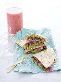 Quesadillas with caramelized onions, mushrooms and avocado