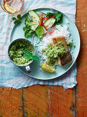 Grilled Goan salmon served with rice