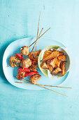 Brazilian chicken kekabs with chilli, honey and mustard marinade