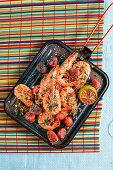 Griddled prawn and chorizo platter (Brazil)