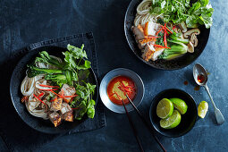 Slow-roast belly pork with Asian noodles and broth