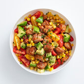 Mexican salad with chicken, sweetcorn and avocado