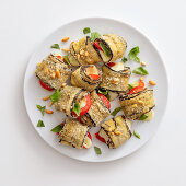 Aubergine rolls with a cheese filling, basil and pine nuts
