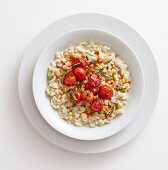 Smoked cheese risotto with cherry tomatoes