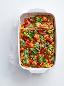 Herb lasagne with peppers, herb pesto and peppermint