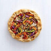 Vegetable tart with olives and capers