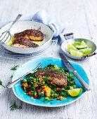 Chia Crusted Salmon with Corn Salad