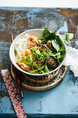 Veggie bun cha with soya balls, herbs and rice noodles (Vietnam)