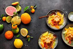 Caramel pudding with citrus fruits