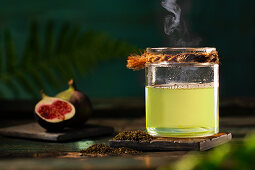 Steaming green tea and figs