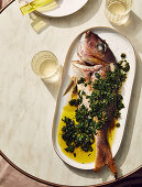 Grilled fish with salsa verde