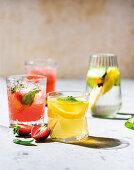 Strawberry and basil soda, Green iced tea
