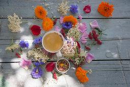 Flower tea and edible flowers