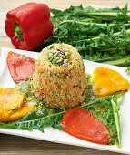 Tender pepper fillets with quinoa and herb sauce