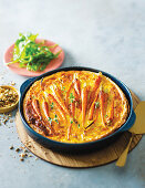 Baby carrot and goat's cheese tart