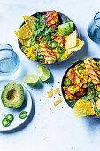 Chicken and corn nacho bowls