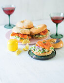 Smoked fish bagels with fennel and horseradish slaw