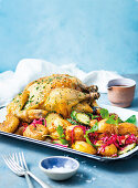 Roast chicken, baby spuds and a quick pickle