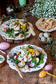 Easter salad with beetroot, chicken and quail eggs