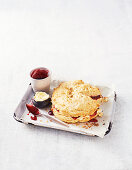 Giant scone cake with jam and cream