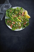 Quinoa, broad bean, salmon and feta salad