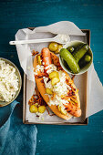 Danish polser hot dog with remoulkade and gherkins