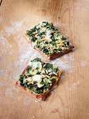 Pizza verde with spinach and Gorgonzola made in a Beefer