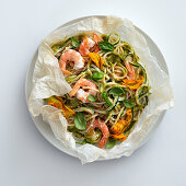 Prawn spaghetti with courgette and courgette flowers