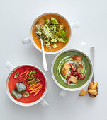 Cold soups: pepper soup, melon and cucumber soup, and avocado and lettuce soup