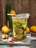 Pickled oriental courgette in a ginger and chilli oil