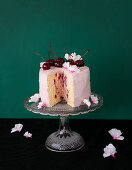 Sponge cake with quark and marcarpone cream and port wine cherries