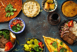 Traditional Turkish dishes and mezze - Pide, Lahmacun, meat kebab, Turkish meatballs, sweet baklava and Künefe