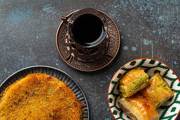 Turkish tea with künefe and baklava