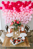 Kids party - platter with strawberries, watermelon, popcorn and oreco cookies
