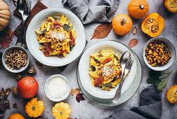 Autumnal pumpkin pasta with sage and ham