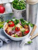 Spicy roast salmon burrito bowl 'to go'