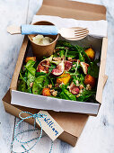Honey pumpkin and fig salad with whipped ricotta 'to go'