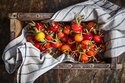 Rosehips in a wooden box