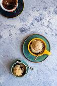 Chocolate microwave mug cake with ice cream
