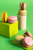 Colorful French macarons in modern style