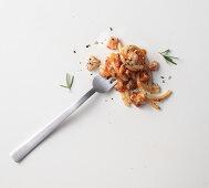 Spaghetti with cacciatore sauce