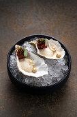 Gillardeau oysters with caviar on ice