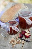 Plum jam with vanilla and walnuts