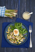 Sautéed asparagus with caramelised goat's cheese and rocket