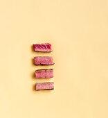 Doneness of steaks – rare, medium rare, medium, well done