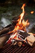 Burning grill wood