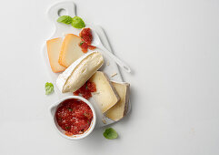 Tomato chutney with basil served with cheese