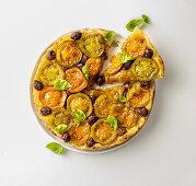 Tomato tatin with taggiasca olives
