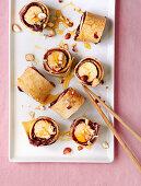 Banana 'sushi' pancakes with chocolate spread