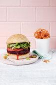 Vegan Beet and Black Bean Burger